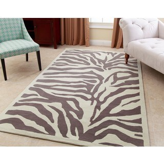 Abbyson Zebra Grey Wool Rug - 5' x 8'