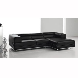 Desire Black Italian Leather and Light Grey Stitch Sofa