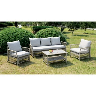 Furniture of America Freesia Light Grey 4-piece Conversation Set