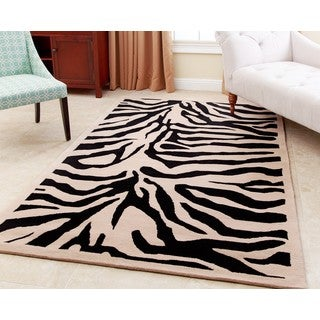 Abbyson Zebra Black Wool Rug (8' x 10') - 8' x 10'