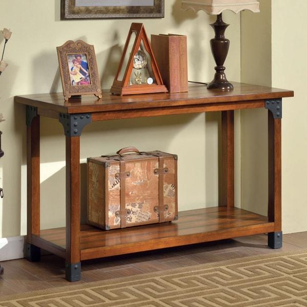 Shop Furniture Of America Strait Antique Oak Plank Sofa Table On