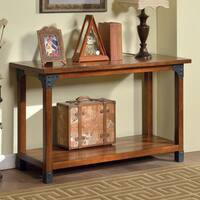 Furniture of America Strait Antique Oak Plank Sofa Table