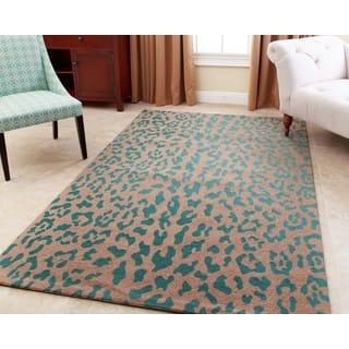 Abbyson Leopard Print Teal Wool Rug (8' x 10') https://ak1.ostkcdn.com/images/products/11502590/P18454455.jpg?impolicy=medium