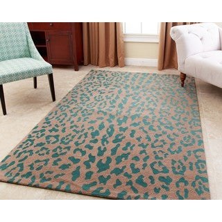 Abbyson Leopard Print Teal Wool Rug (5' x 8') (As Is Item)