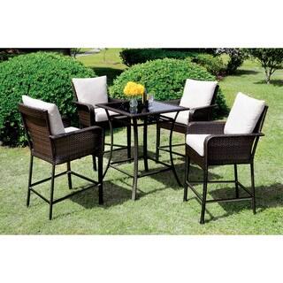 Furniture of America Hailey Espresso 5-piece Outdoor Bar Set