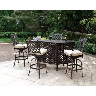 Furniture of America Tessa Patio 5-piece Metal Bar Set
