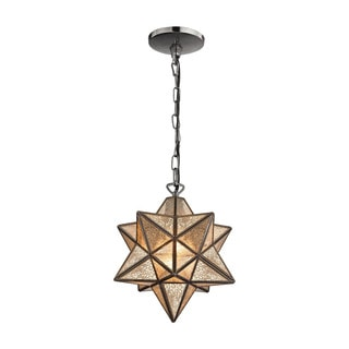 Sterling Home Moravian Star Pendant Oiled Bronze 10-inch Metal Pendant with Antiqued Mercury Glass