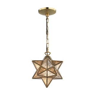 Sterling Home Moravian Gold 9-inch Metal Pendant with Antiqued Mercury Glass