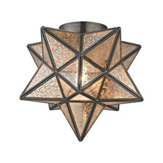Sterling Home Sirius Oiled Bronze 10-inch Metal Flush Mount with Antiqued Mercury Glass