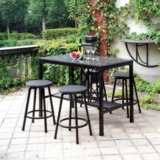 Furniture of America Chassie Bronze 5-piece Outdoor Counter Height Dining Set