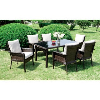 Furniture of America Lissie Espresso 7-piece Outdoor Dining Set