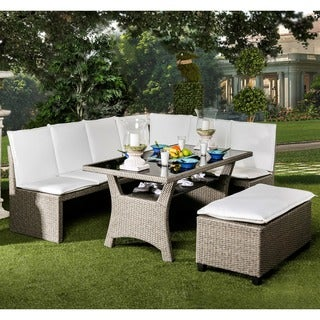 Furniture of America Stelly Grey 3-piece Outdoor Dining Set