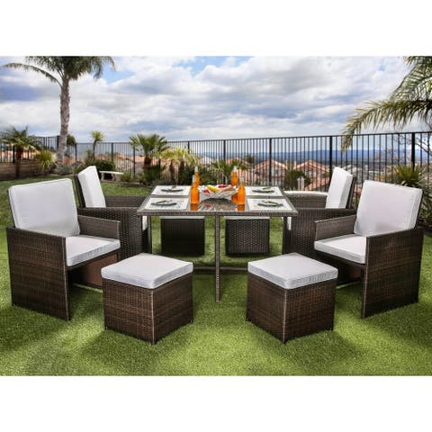 Furniture of America Ames Modern Espresso 9-piece Outdoor Dining Set