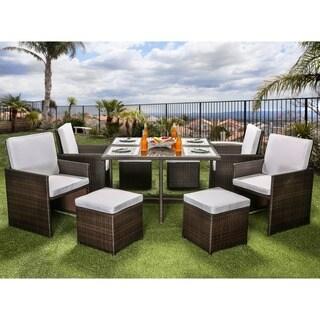 Furniture of America Ames Modern Espresso 9-piece Outdoor Dining Set