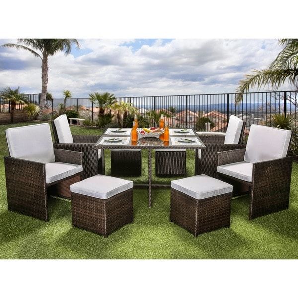 9 piece outdoor dining set cheap furniture of america ames espresso 9piece outdoor dining set shop