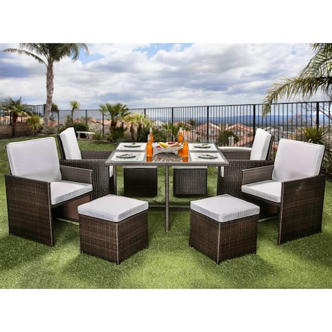 Ames Contemporary Espresso Outdoor 9-Piece Dining Set by FOA