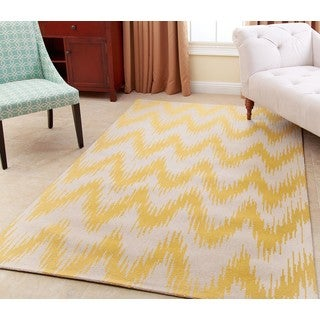 ABBYSON LIVING Hand-tufted Emily Yellow New Zealand Wool Rug (3' x 5')