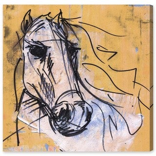 Oliver Gal 'Carson Kressley - Horse Study' Animals Wall Art Canvas Print - Yellow, White