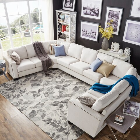 Torrington Off-white Linen Nailhead Track Arm U-shaped Configurable Sectional by iNSPIRE Q Classic
