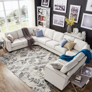 INSPIRE Q Torrington Linen Nailhead Track Arm U-shaped Configurable Sectional