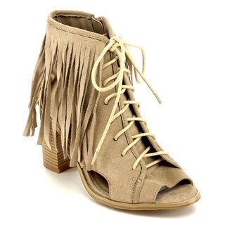 Beston Ea62 Fringe Chunky Ankle Bootie