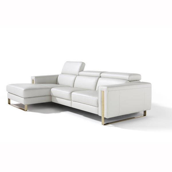 Ashley white italian leather reclining sofa and chaise for Ashley leather chaise lounge