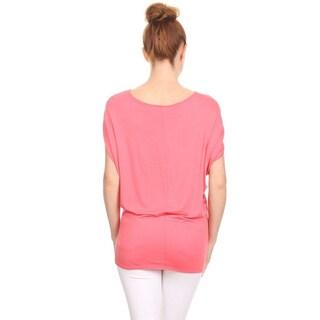 MOA Collection Women's Short Dolman Sleeve Top