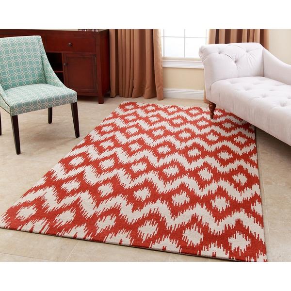Abbyson Hand-tufted Ellie Orange New Zealand Wool Rug - 8\' x 10 ...