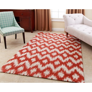 ABBYSON LIVING Hand-tufted Ellie Orange New Zealand Wool Rug (3' x 5')