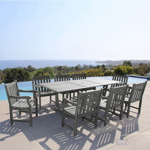 Renaissance Eco-friendly 9-piece Outdoor Hand-scraped Hardwood Dining Set with Rectangle Extention T