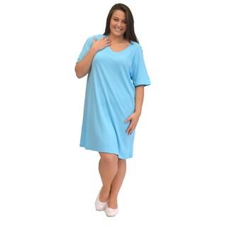 La Cera Women's Plus Size Short Sleeve Sleep Gown