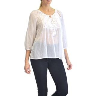 La Cera Women's 3/4 Sleeve Embroidered White Top