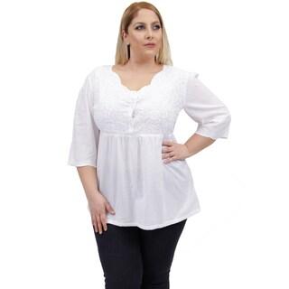 La Cera Women's Plus Size Embroidered Bodice Blouse