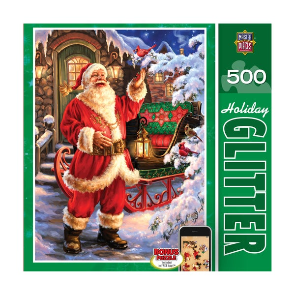 Holiday Glitter Puzzle Jolly Saint Nick: 500 Pcs