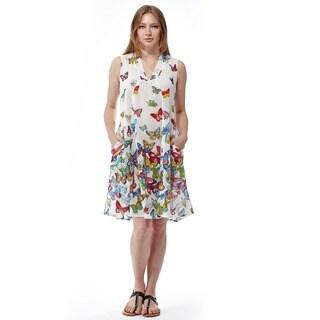 La Cera Women's Sleeveless White Printed Dress