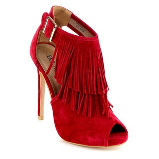Bella Marie Vanesa-28 Women's Peep Toe Cut Out Buckle Strap Fringe Ankle Bootie