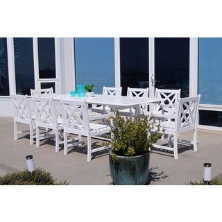 Bradley Eco Friendly 9 Piece Outdoor White Hardwood Dining Set With  Rectangle Extension Table