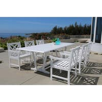 The Gray Barn Bluebird Eco-friendly 7-piece Outdoor White Hardwood Dining Set with Rectangle Extension Table and Arm Chairs