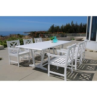 Bradley Eco Friendly 7 Piece Outdoor White Hardwood Dining Set With  Rectangle Extension Table
