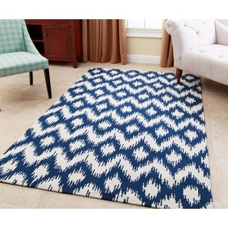 ABBYSON LIVING Hand-tufted Ellie Royal Blue New Zealand Wool Rug (5' x 8')