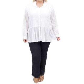 La Cera Women's Plus Size Long Sleeve Smocked Poet Top