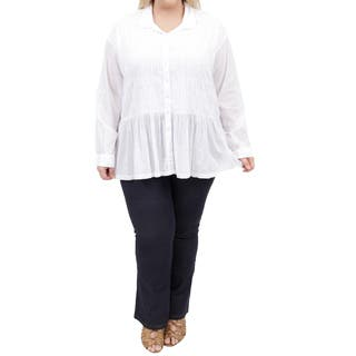 La Cera Women's Plus Size Long Sleeve Smocked Poet Top|https://ak1.ostkcdn.com/images/products/11502896/P18454703.jpg?impolicy=medium