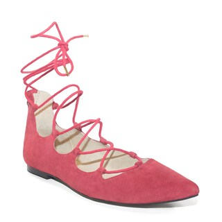 Lonia Shoes Women's Lauren Red Suede Lace Flats (Extended Size 10 - 14)