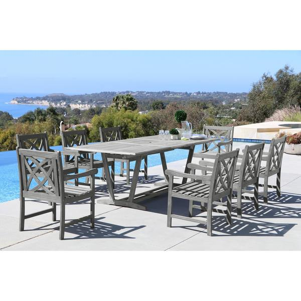 Renaissance Eco-friendly 9-piece Outdoor Hand-scraped Hardwood Dining Set with Rectangle Extention T. Opens flyout.