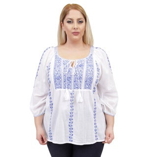 La Cera Women's Plus Size 3/4 Sleeve Stripe Embroidered Top