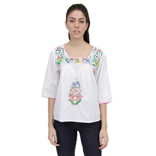 La Cera Women's 3/4 Sleeve Square Neck Embroidered Top (3 options available)