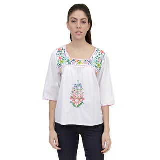 La Cera Women's 3/4 Sleeve Square Neck Embroidered Top