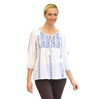 La Cera Women's 3/4 Sleeve Stripe Embroidered Top