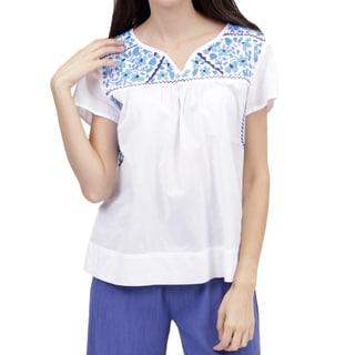 La Cera Women's Cap Sleeve hand-embroidered White Top