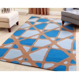 ABBYSON LIVING Hand-tufted Hayes Blue New Zealand Wool Rug (5' x 8')